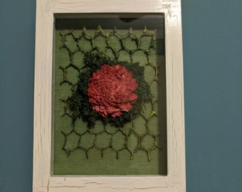 Crackle Finish Shadowbox with Paper Dahlia and Reindeer Moss