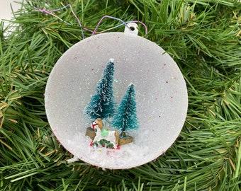Vintage Inspired Diorama Christmas Ball Ornament Bottle Brush Trees