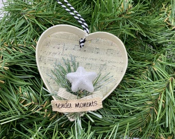 Heart Chipboard Music Christmas Floral Ornament