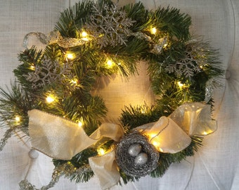 Artificial Evergreen Wreath with Gold Bird's Nest and Lights