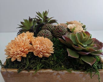 Rustic Succulent Faux Arrangement in Ceramic Tray