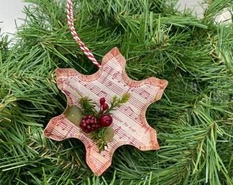 Snowflake Copper Music Christmas Floral Ornament