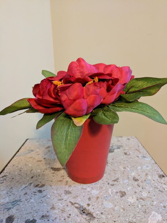 Fabulous Red Peony In Ceramic Pot Valentines Silk Flower Arrangement Artificial Centerpiece Modern Decor Accent Decor Home Decor Gift Silk Peony Interior Design Ideas Clesiryabchikinfo