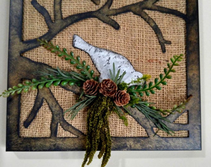 Featured listing image: Metal Bird Burlap Art Wall Piece