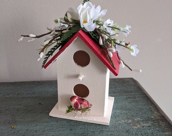 Mini Red Cream Floral Painted Wood Birdhouse