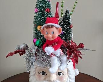 Retro Christmas Ceramic Santa Arrangement