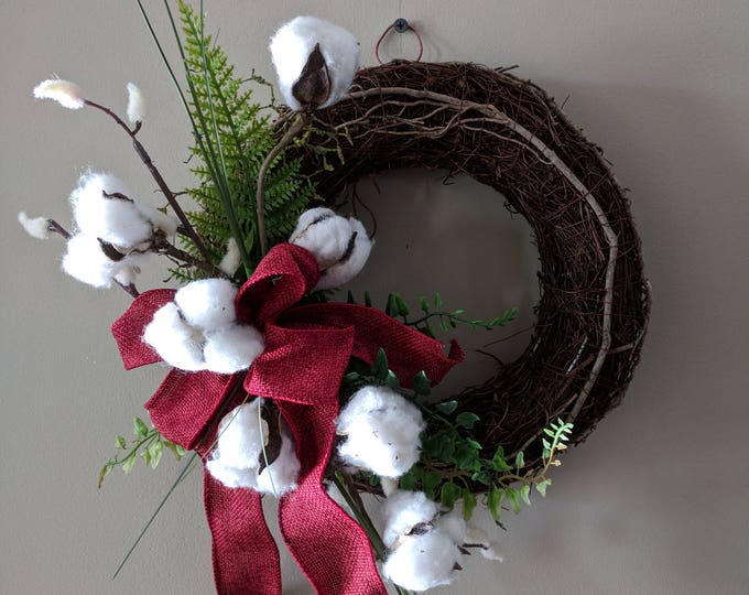 Featured listing image: Cotton Boll Burlap Grapevine Wreath