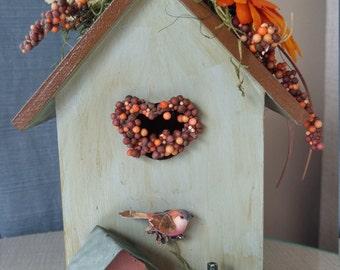 Orange Silk Gerbera Daisy Birdhouse