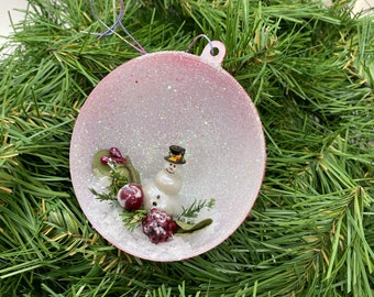 Vintage Inspired Diorama Christmas Ball Ornament Snowman Berry Greenery