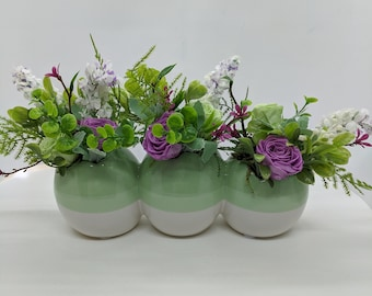 Easter Spring Ceramic Three Egg Artificial Flower Centerpiece with Freeze Dried Roses