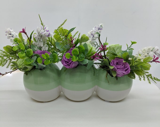 Featured listing image: Easter Spring Ceramic Three Egg Artificial Flower Centerpiece with Freeze Dried Roses
