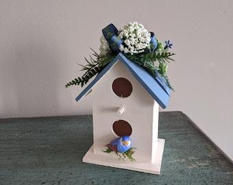 Mini Blue Cream Floral Painted Wood Birdhouse