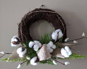 Cotton Boll Burlap Grapevine Wreath