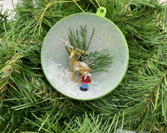 Vintage Inspired Diorama Christmas Ball Ornament Gold Deer Christmas Toy