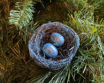 Bird's Nest Trio-Natural Decor--Gold Blue Glitter-Grapevine-Bird Lover Gift-Christmas Ornament-Holiday Decor-Rustic Decor-Egg and Nest