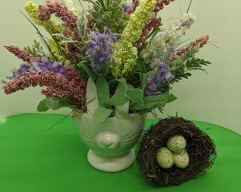 Spring Easter Ceramic Bunny Ears Artificial Flower Centerpiece