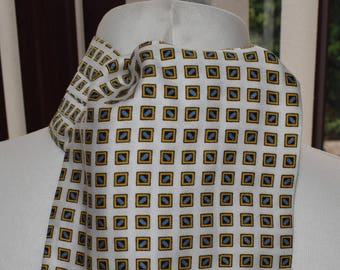 1960's Cream, Blue and Gold Patterned Cravat