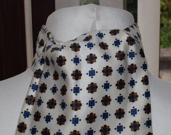 1960's White, Blue and Gold Patterned Cravat