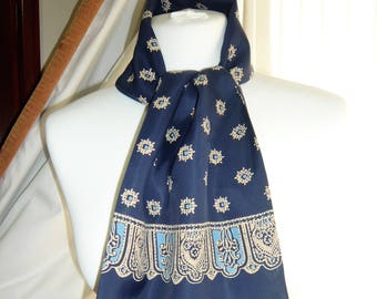1960's Vintage Blue and Gold Patterned Scalf