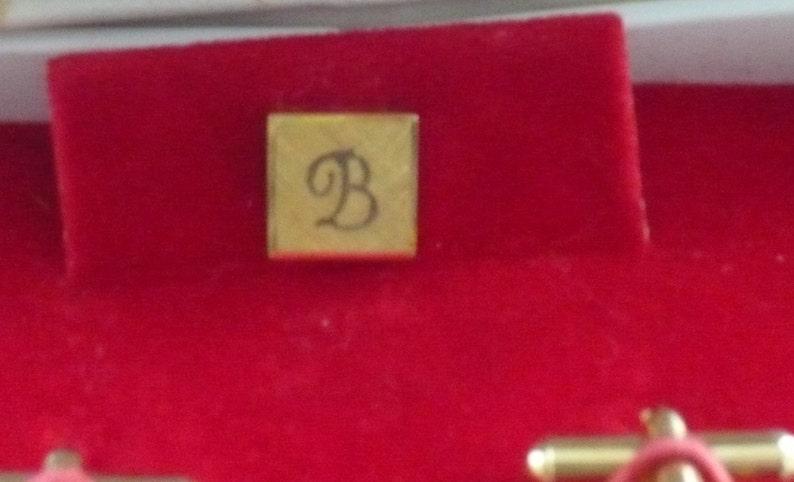 1960/'s Initial B Cufflinks And Tie PinTie Tack Set