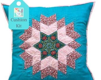 Diamond Star Cushion Kit in Liberty Pinks - English Paper-Piecing Kit, Patchwork Cushion Kit, Hand Sewing, Craft Kit