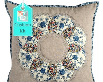 Flower Cushion Kit in Liberty Blue - English Paper-Pieced Cushion Kit, Handsewing Kit, Patchwork Cushion Kit