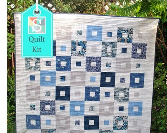 All Squared Up Quilt Kit in the Sandpipers Collection from Michael Miller - Easy Quilt Kit, Craft Kit, Make Your Own Patchwork Quilt