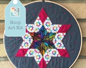Diamond Star Hoop Art Kit in Alison Glass - English Paper-Piecing Kit, Hand sewing Kit