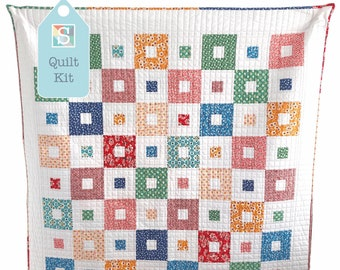 All Squared Up Quilt Kit in Riley Blake's Flea Market - Easy Quilt Kit, Baby Quilt, Handmade Quilt Kit, Jelly Roll Quilt