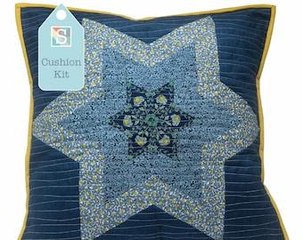 Diamond Star Cushion in Liberty Blue - English Paper-Piecing Kit, Patchwork Cushion Kit, Hand Sewing, Craft Kit