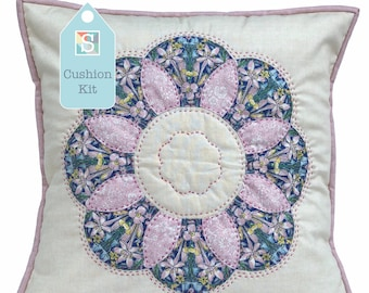 Flower Cushion Kit in Pink Liberty - Curved English Paper-pieced Cushion Kit, Handsewing, Patchwork Cushion Kit