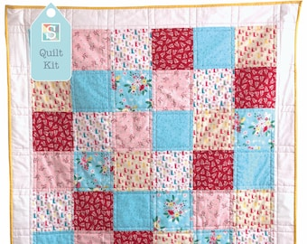 Quick and Easy/Beginner's Quilt Kit in Singing in the Rain - Easy Quilt, Baby Quilt, Craft Kit