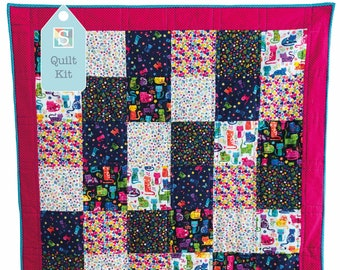 Quick and Easy/Beginner's Quilt Kit in Katie's Cats - Easy Quilt, Baby Quilt, Craft Kit