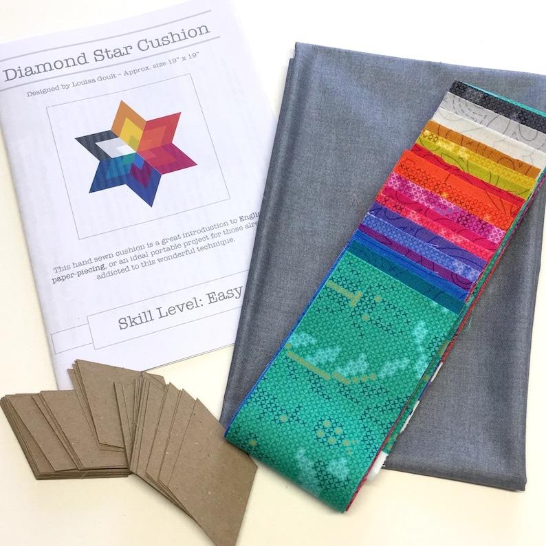 Diamond Star Cushion Kit in Alison Glass/'s Sun Prints Patchwork Cushion Kit Hand Sewing Kit