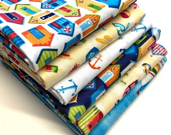 Quilting Fat Quarter Bundle in Beside the Sea Prints - 6pcs, Quilting Fabric, Novelty Fabric, Seaside Fabric