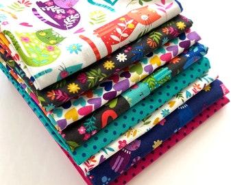 Quilting Fat Quarter Bundle in Katie's Cats - 8pcs, Makower, Quilting Fabric, Cat Fabric