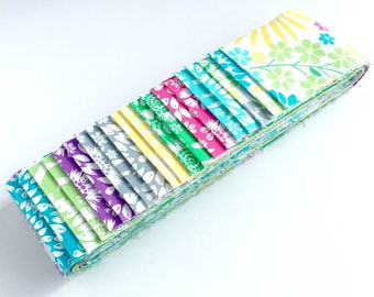 Quilting Pre-cut Strip Set in Flora Pop from Michael Miller - Jelly Roll, Fabric Strips, Quilting Fabric