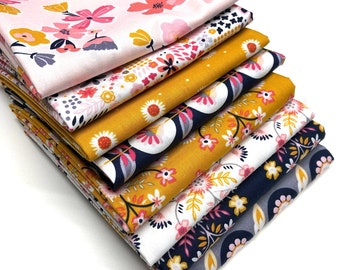 Quilting Fat Quarter Bundle in Riley Blake's Golden Aster - 8pcs, Quilting Fabric, Quilting Pre-cuts