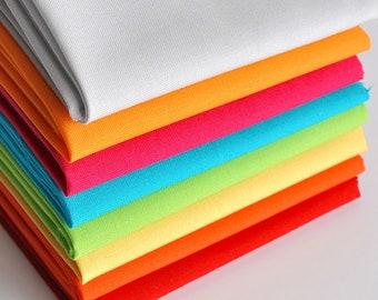 Quilting Fat Quarter Bundle - 8pcs, Makower Spectrum Solids, Solid Fabrics, Plain Fabric, Quilting Supplies