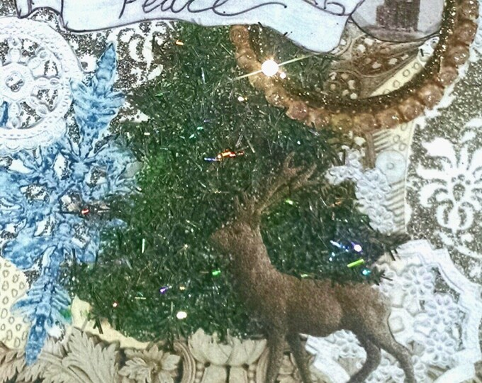 Embellished Christmas Card-Fancy,Holiday,Greeting Card,Deer,Peace,New Year,New Year's,Winter,Snowflakes,Gold,Forest,