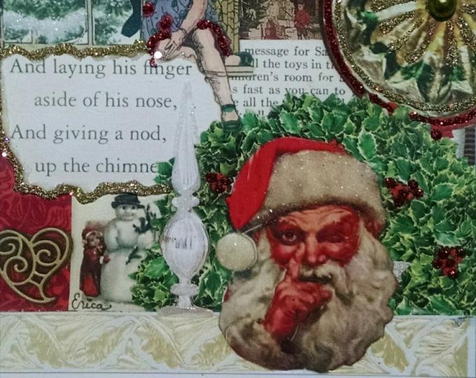 Victorian Santa Christmas Card,Santa Claus Card,Christmas Card Kids,Victorian Christmas,Collage Card Kids,Handmade Christmas,Vintage Holiday