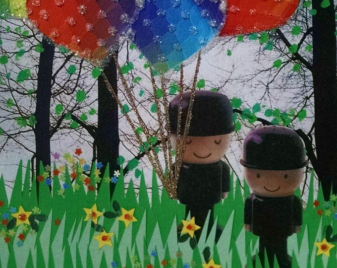 Rainbow Balloons Greeting Card- Rainbows, Black Hats,LGBT