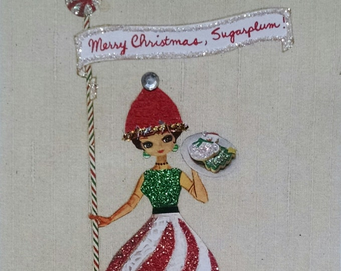 Embellished Christmas Card-Sugarplums,Merry Christmas,Holiday,Holiday,Greeting Card,Cookies,Doll,Dolls,Candy,Petit Four,Cupcakes,Bakery