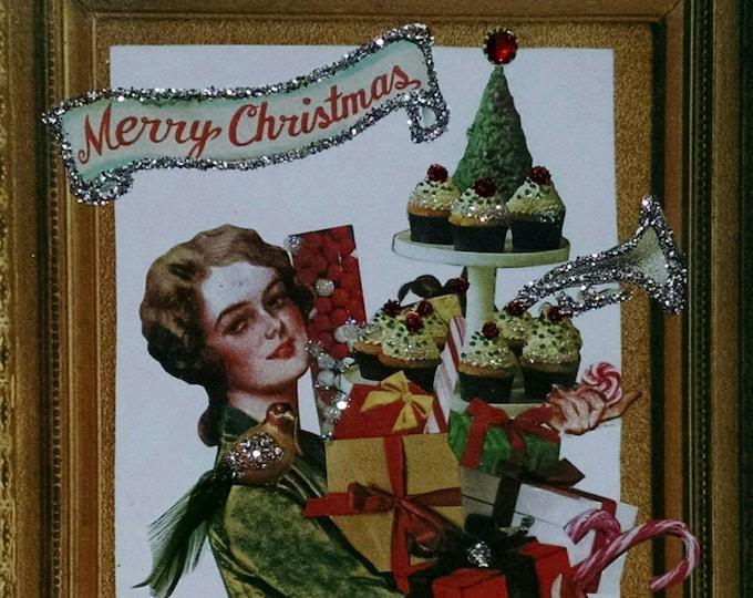 Christmas Shopper Card,card for shopaholic,christmas card,vintage christmas card,victorian lady card,victorian card,handmade card,blank card