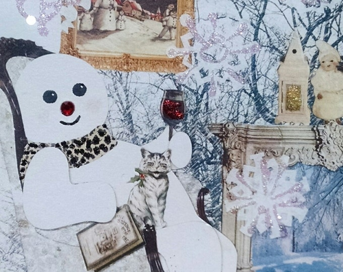 Snowman and Wine Holiday Card,Wine Lover Card,Snowman Christmas,Cat Christmas