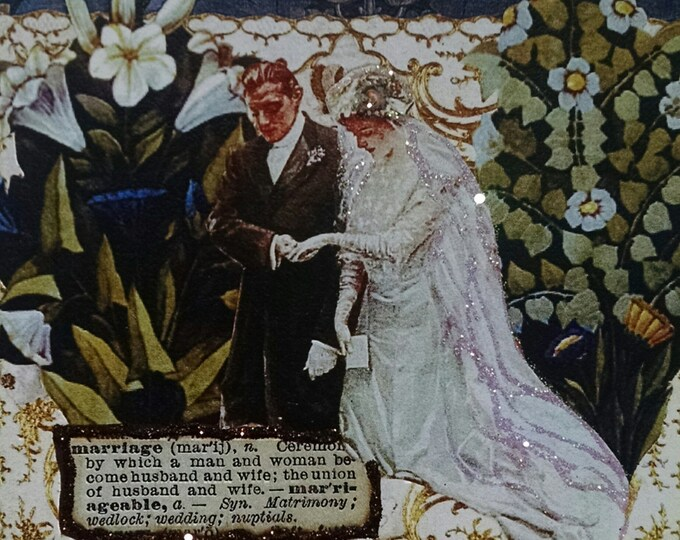 Victorian Wedding Card- Engagement, Bride, Groom, Marriage, Traditional, Vows, Lilies, Lily, Veil, Forget Me Not, White
