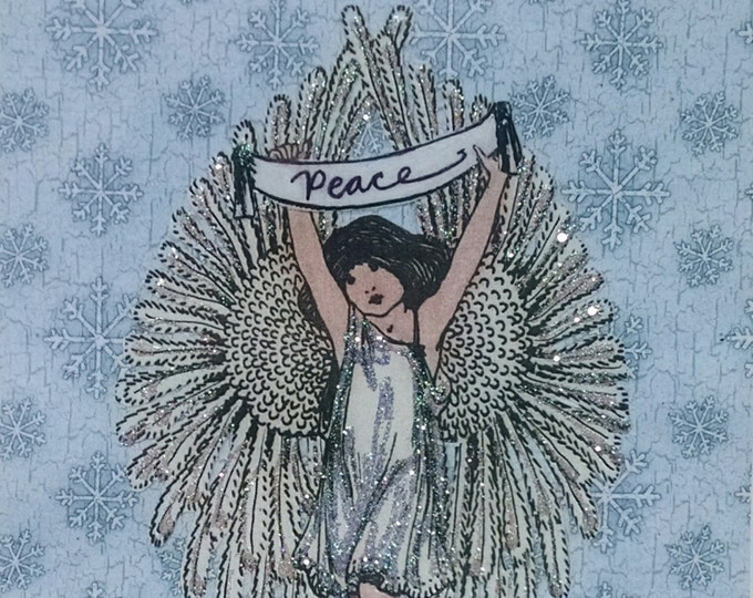 Angel Christmas Card- Handmade,Angel Wings,Wings,Snow,Peace,Holiday,Blank,Victorian,Glitter,Embellished,Christmas