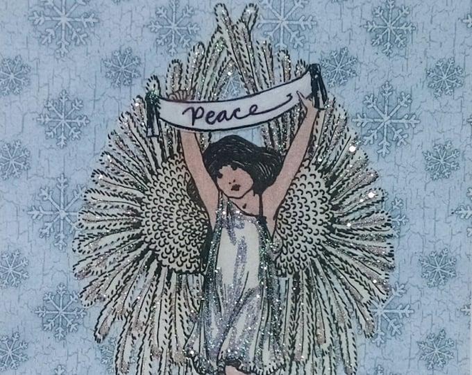 Angel Christmas Card- Handmade card,,Angel Wings,World Peace card,Victorian Angel Card,Peace Angel Card