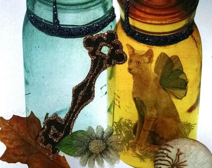 Fairy Cat Card-Kitten, Bottles, Jars, Key, Keys, Cats,