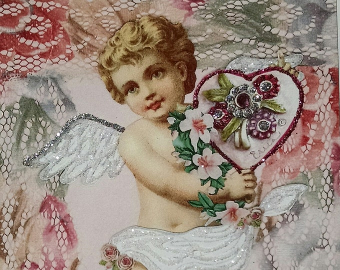 Cherub Valentine Card,Fancy Valentine,Victorian Valentine,Card for Framing